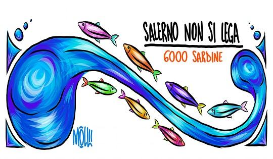 Si sta stretti: le sardine arrivano a Salerno